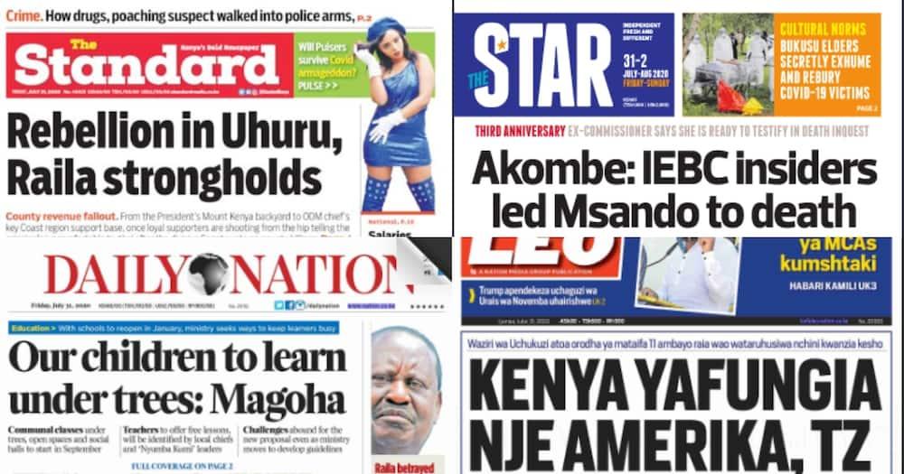 Kenyan Newspapers review for July 31: Handshake rift widens Uhuru, Raila loyalists rebel