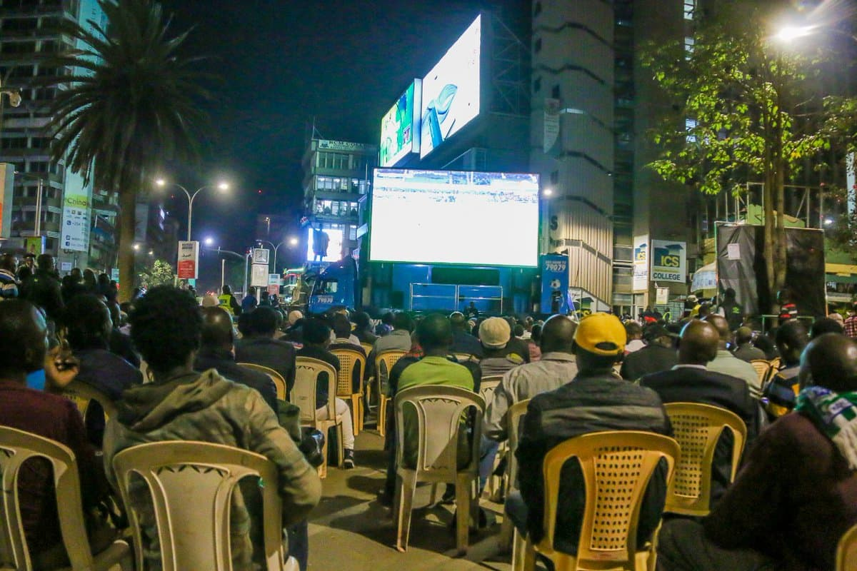 Hundreds of Kenyans come together in the CBD to watch and celebrate Gor Mahia's journey