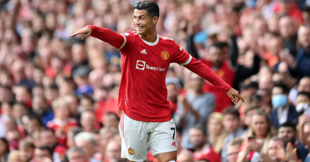 Cristiano Ronaldo of Manchester United smiles during the Premier League match between Manchester United and Newcastle United at Old Trafford on September 11, 2021 in Manchester, England. (Photo by Laurence Griffiths/Getty Images)