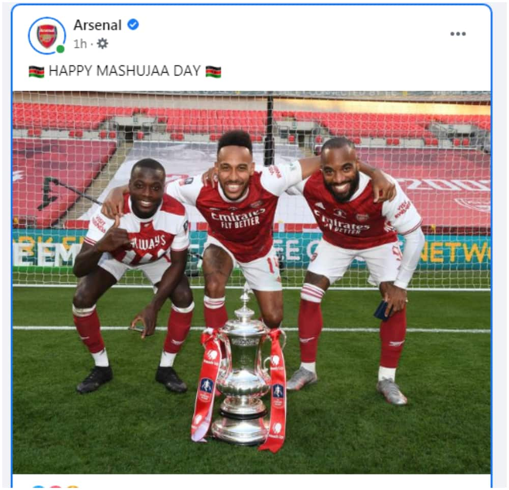 Mashujaa Day: Kenyans excited as Arsenal send message of goodwill