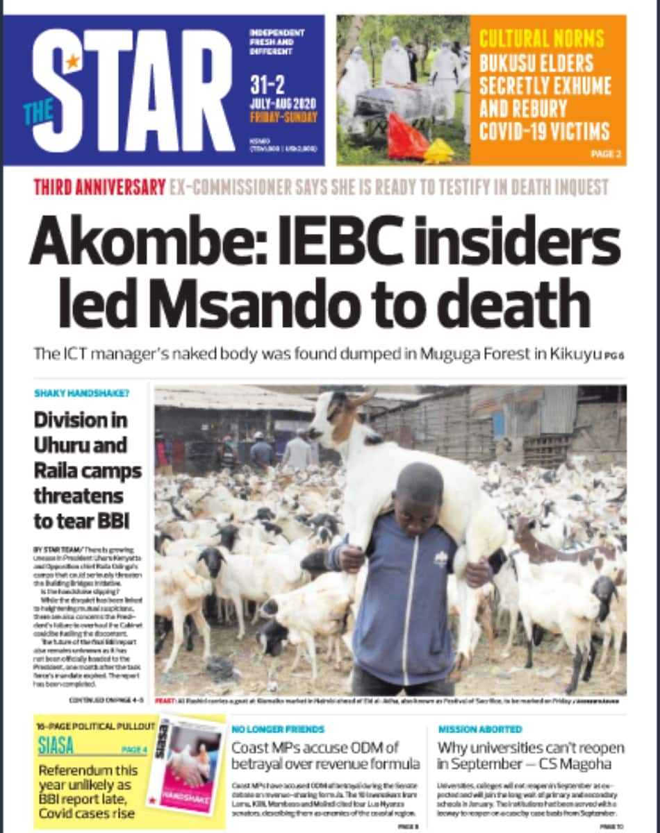 Kenyan Newspapers review for July 31: Handshake rift widens as Uhuru, Raila loyalists rebel