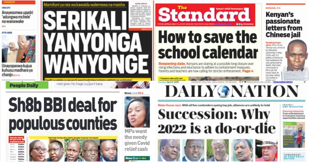 Kenyan newspapers for April 6. Photo: The Standard, Daily Nation, People Daily and Taifa Leo.