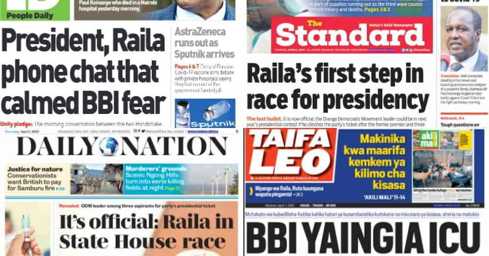 Kenyan newspapers for April 1. Photo: The Stanard, Daily Nation, People Daily and Taifa Leo.