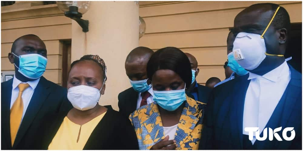 Mama Lucy CEO (in yellow) Dr. Emma Mutio after the DPP withdrew charges against her as well as the hospital's administrator. Photo: Zipporah Weru