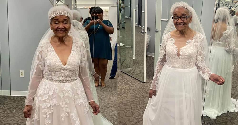 94-year-old wearing bridal gown.