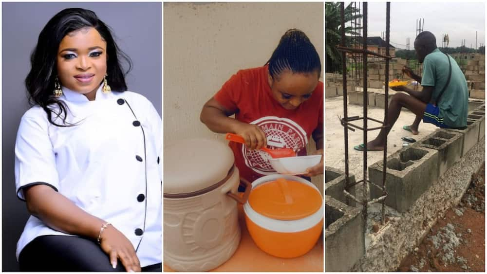 Nigerian lady cooks food, goes to building site, sells it to labourers to make money