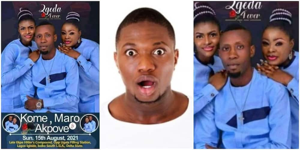 Social media reacts to wedding invite of a Nigerian man who is to marry two pretty ladies at once.