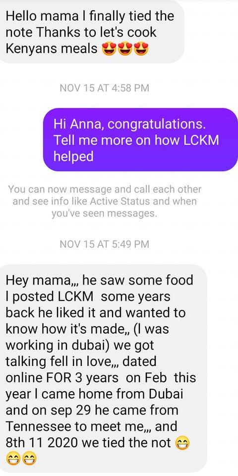Une Kényane se marie avec un Américain à cause d'un repas qu'elle a publié sur Facebook