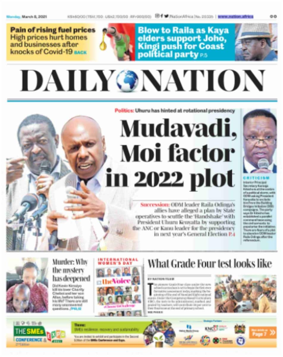 Daily Nation newspaper for March 8. Photo: UGC