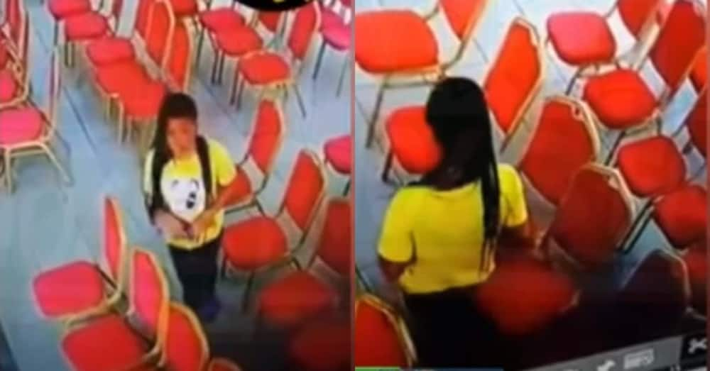 Beautiful lady with nicely braided hair steals phone in church; captured on CCTV