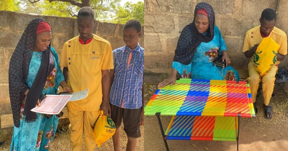 Meet 26-year-old visually impaired Ghanaian who creates beds, chairs & more out of thread