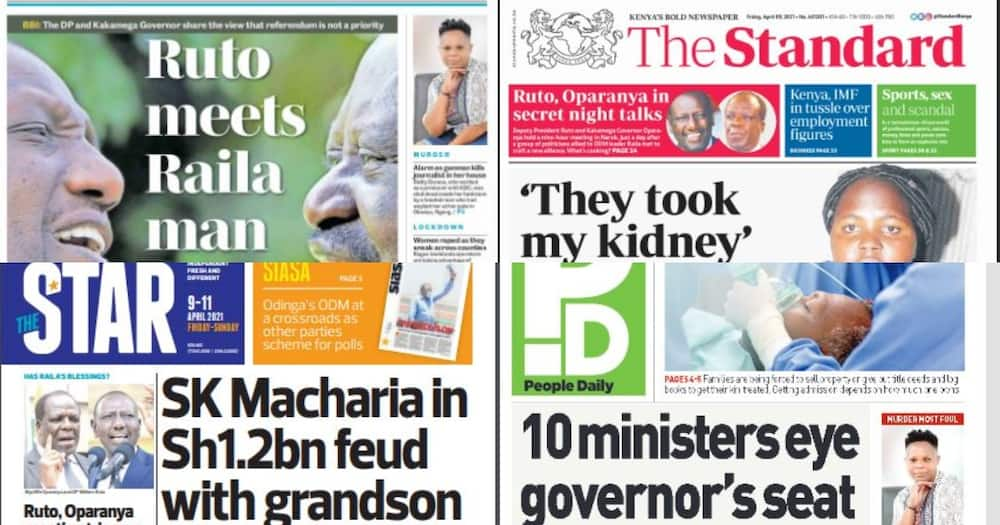 Kenyan Newspapers Review for April 9: List of 10 CSs Eyeing Gubernatorial Seats in 2022
