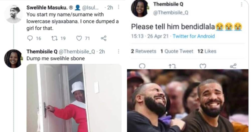 """Man reveals reason why he dumped ex, new bae tests him. Translation of the texts:"""""""