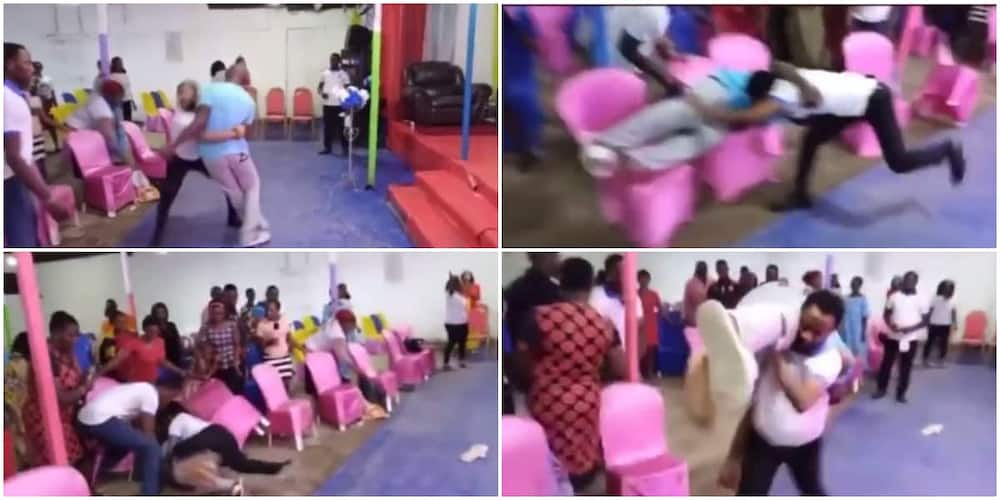 The pastor scattered church members during deliverance after throwing man on the congregation.