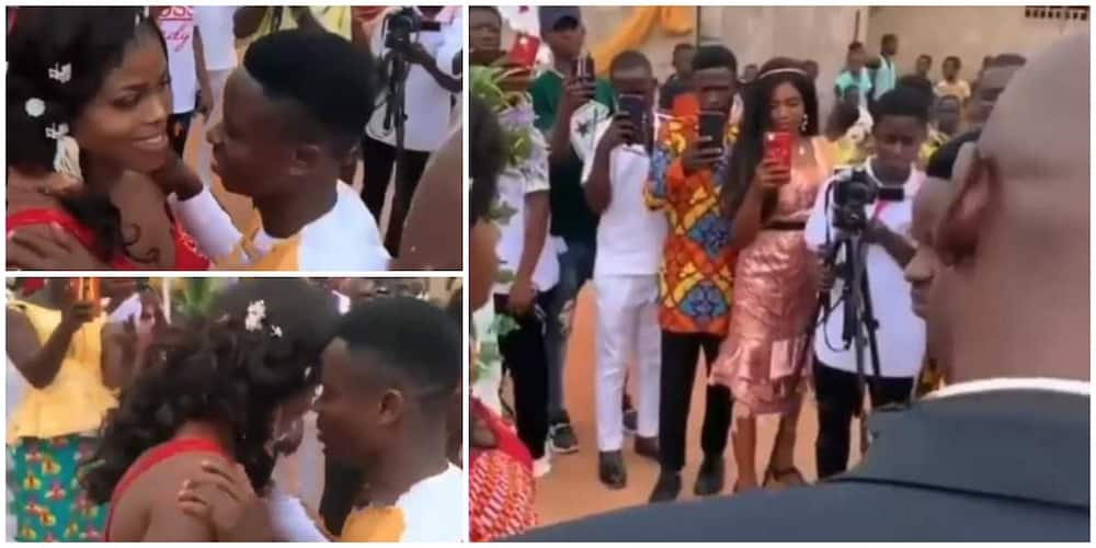 A bride goes viral for refusing to kiss her husband. Photo: @mufasatundeednut.