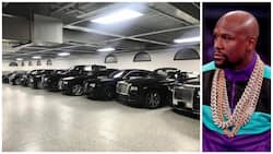 Money man! Mayweather shows off garage which has $6.4m Rolls Royce collection and $200k Ferrari (photos)