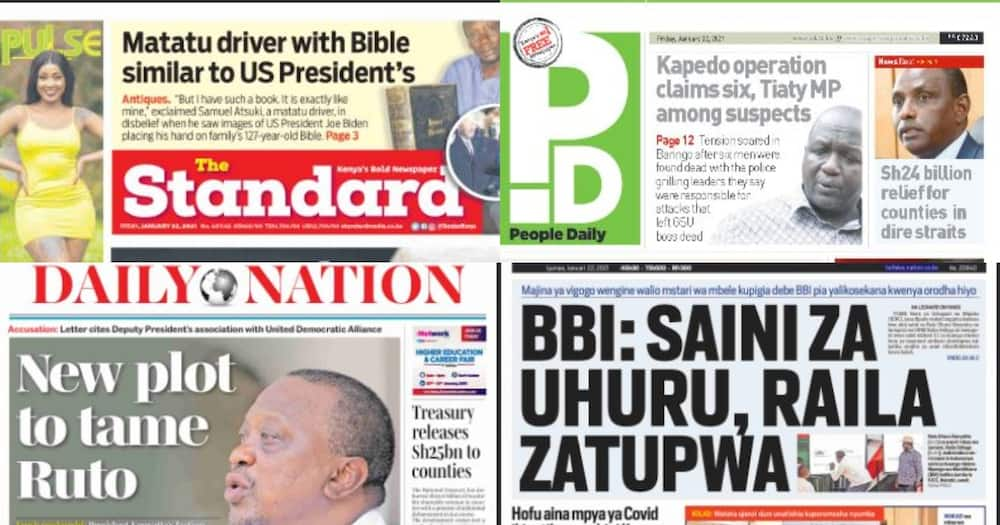 Newspapers review for Jan 22: Senior Jubilee officials want Ruto, allies expelled for undermining ruling outfit