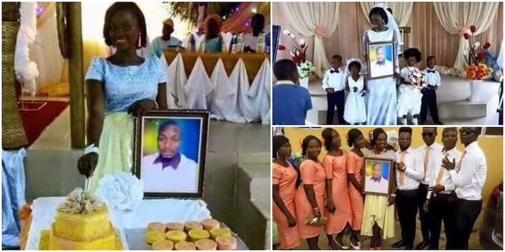 Nigerians react as lady marries with man's photo because he claims to be busy abroad