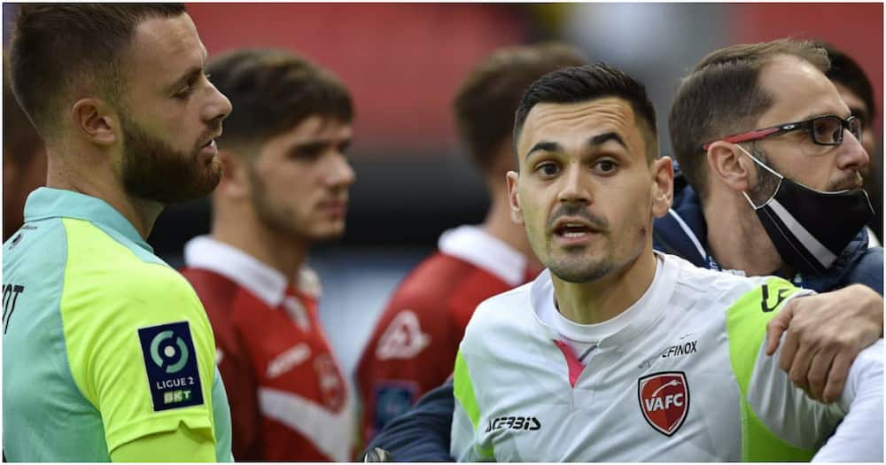 Jerome Prior: Valenciennes keeper bitten on cheek during chaotic French Ligue 2 clash