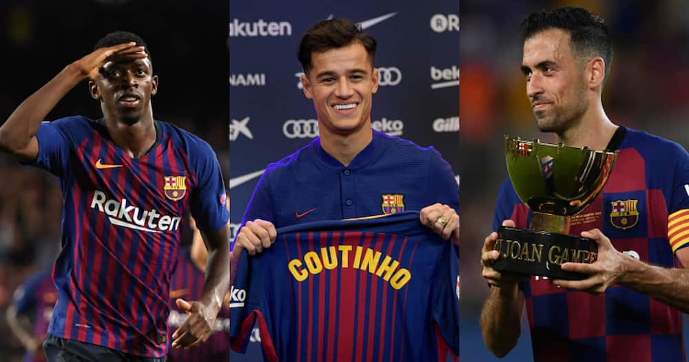 Barca stars Philippe Coutinho, Ousmane Dembele and Sergio Busquets. Photos by David Ramos, Alex Caparros and JOSEP LAGO.