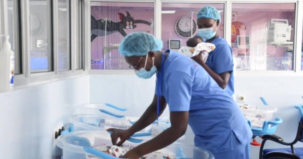 Nurses checking on the newborn babies. Photo: KNH Othaya.