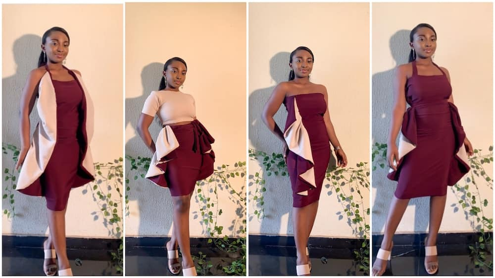 The Nigerian tailor modelled her dress with amazing poses. Photo source: @just_oyinda