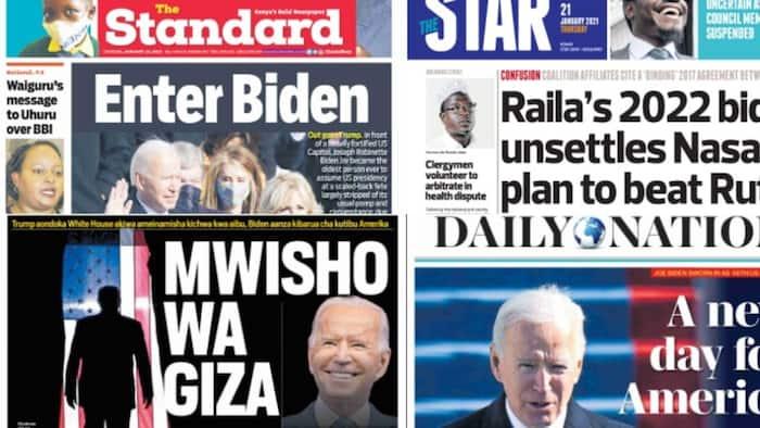 Kenyan newspapers review for January 21: Kalenjin Myoot elders endorse Ruto's 2022 presidential bid, say Gideon Moi still political baby