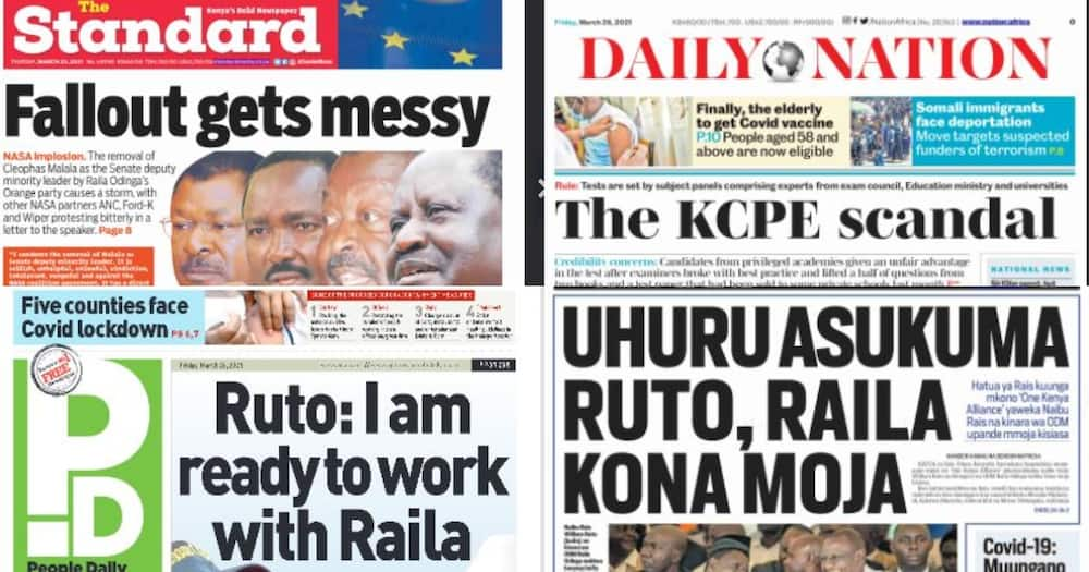 Kenyan Newspapers Review for March 26: COVID-19 Lockdown looms in five counties