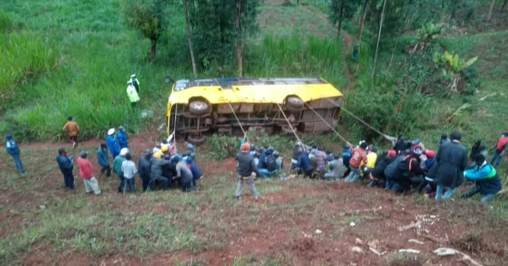 Tharaka Nithi boss Alex Mugambi said he was given information about the accident at around 5.30am. Photo: Citizen Digital.
