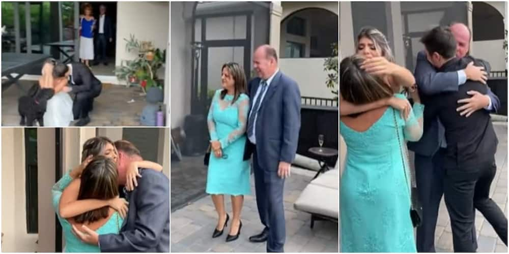 Bride got emotional as her parents made it to her wedding.