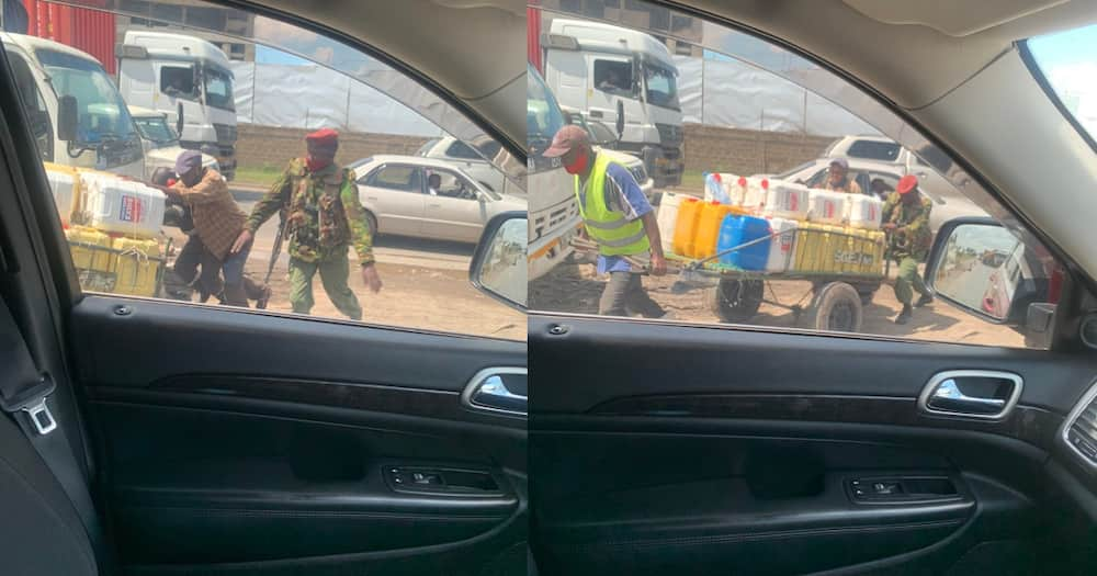 Kind police officer pictured helping water vendor push his mkokoteni
