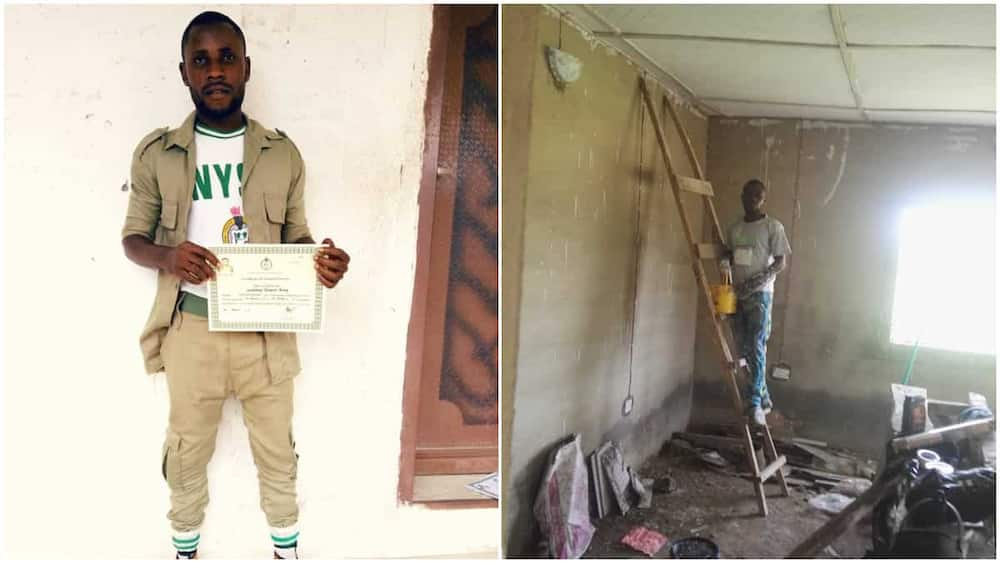 Nigerian mechanical engineer graduate turns petty house painter to survive, shares his NYSC photo