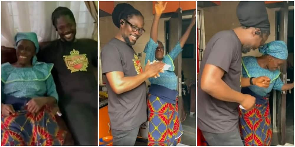 Daddy Showkey's Mum Dances with Joy as Singer Pays Her a Surprise Visit on Her Birthday