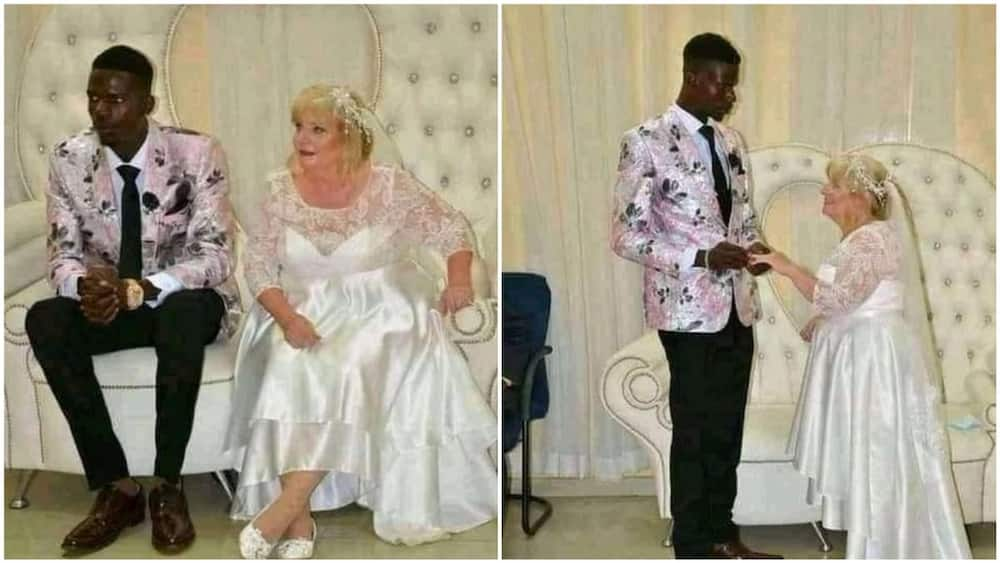 Photos of young man marrying an old white woman stir reactions from Nigerians