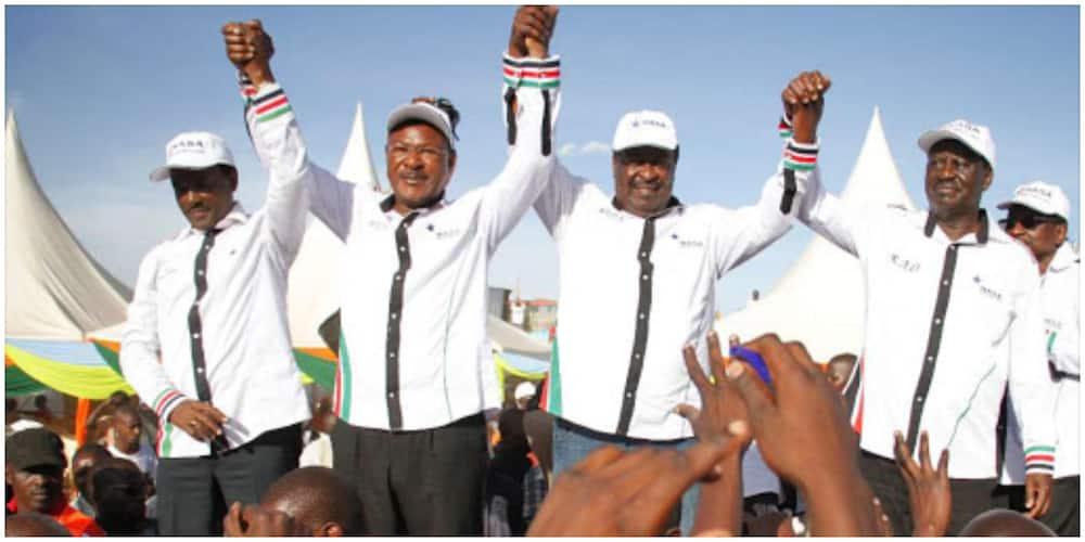 Former NASA principals from left Kalonzo Musyoka, Moses Wetangula, Musalia Mudavadi and Raila Odinga in a past campaign rally. Photo: NASA