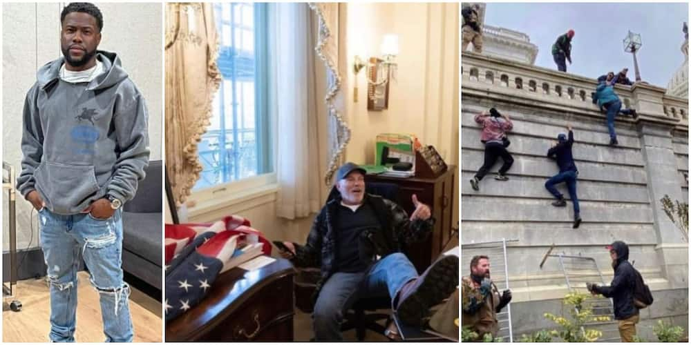 Kevin Hart reacts as Trump supporters invade Capitol building