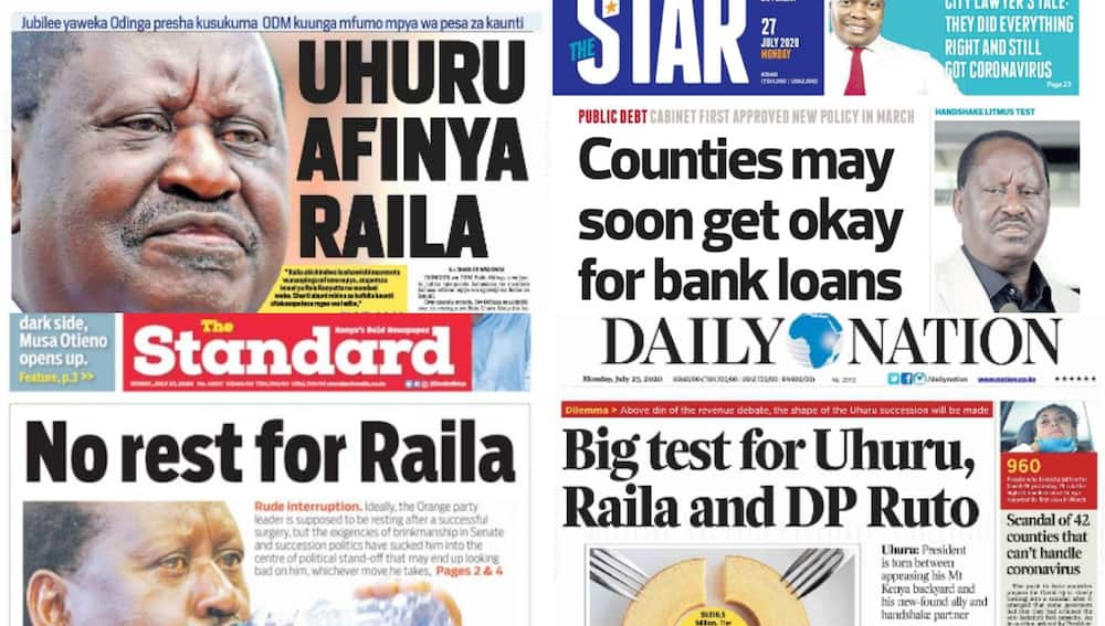Kenyan newspapers review for July 27: Raila cuts short Watamu vacation to weigh-in on revenue allocation standoff