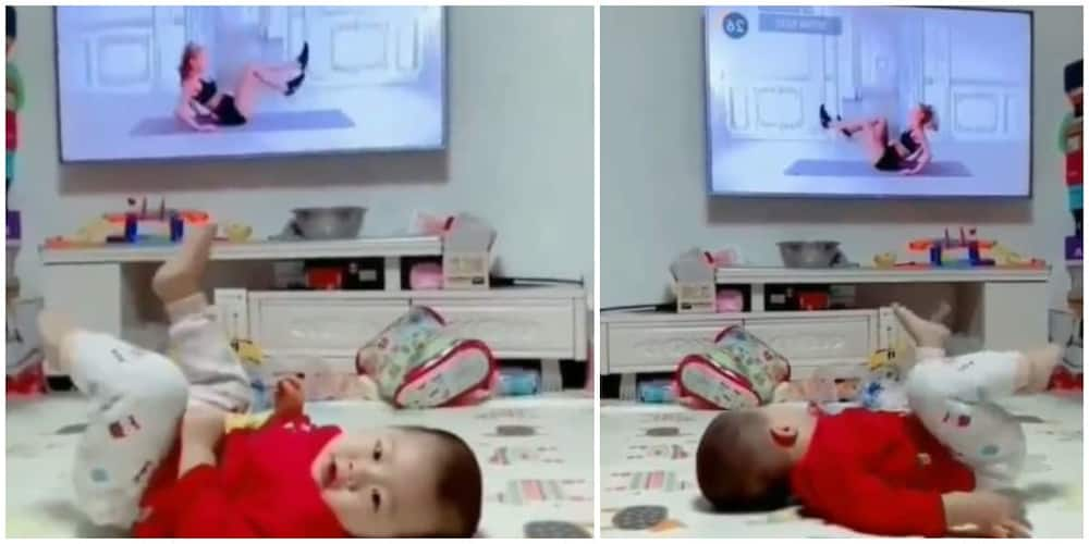 Adorable Kid Mimicks Lady Doing Exercise on Television, Video Goes Viral