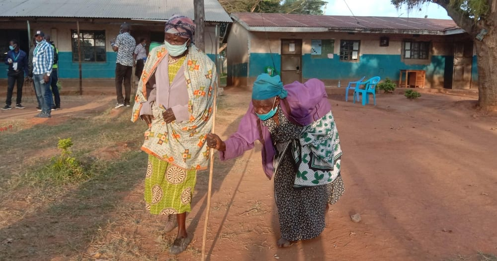 Kabuchai elderly woman Clementina Namunyemba walked three kilometres to the polling station.