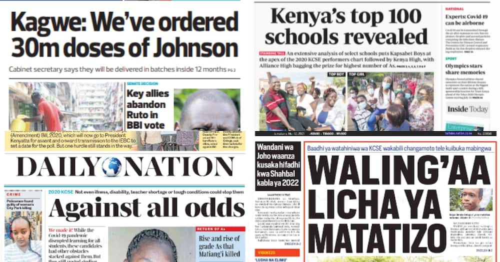 Newspapers Review for May 12: Concern as 2016 KCPE Best Students Fail to Scoop Top Positions in 2020 KCSE