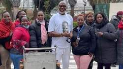 Nollywood Actor Richard Mofe-Damijo Shares Photo Surrounded by Female Fans during Nairobi Visit