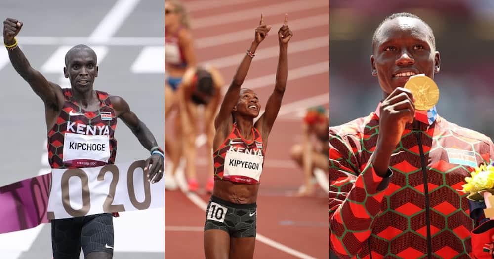 Eliud Kipchoge, Faith Kipyegon, and Emmanuel Korir during the 2020 Tokyo Olympics. Photos by Tim Clayton, Michael Steele, and Ramsey Cardy.