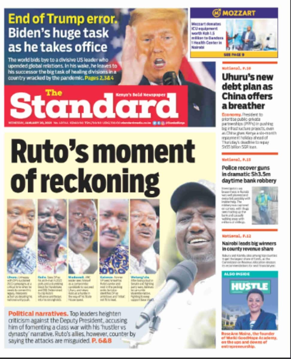 Kenyan newspapers review for January 20: Uhuru makes new demands on handshake deal with Raila