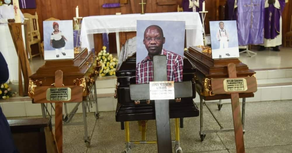 Caskets containing the remains of James Gakara and his two children. Photo: Nation.