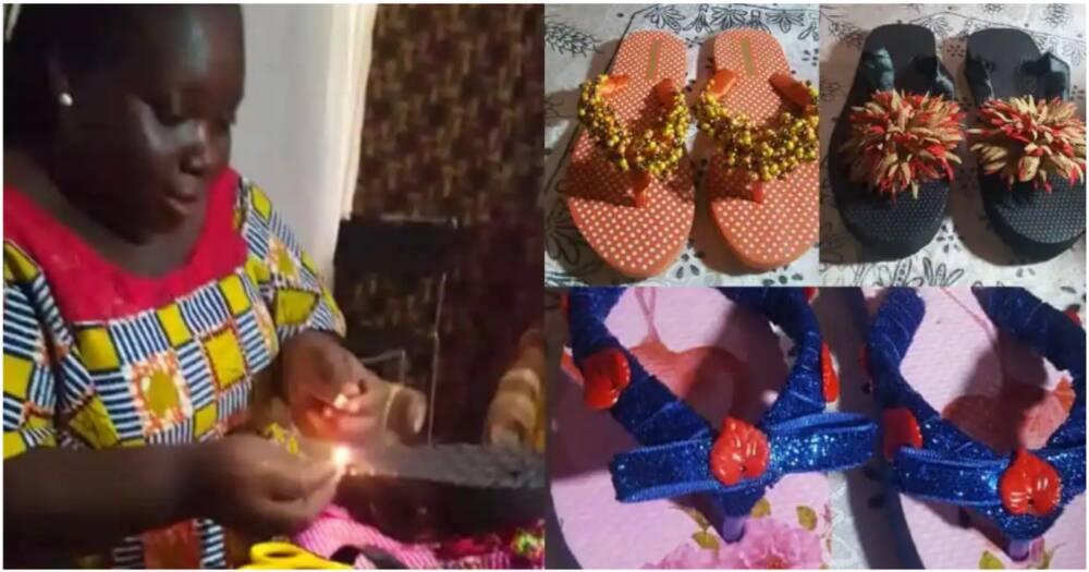 Sarah Obeng Amoako makes beautiful slippers.