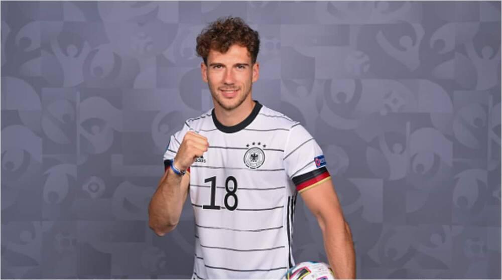 Leon Goretzka while in action for Germany's national football team. Photo: Sebastian Widmann.