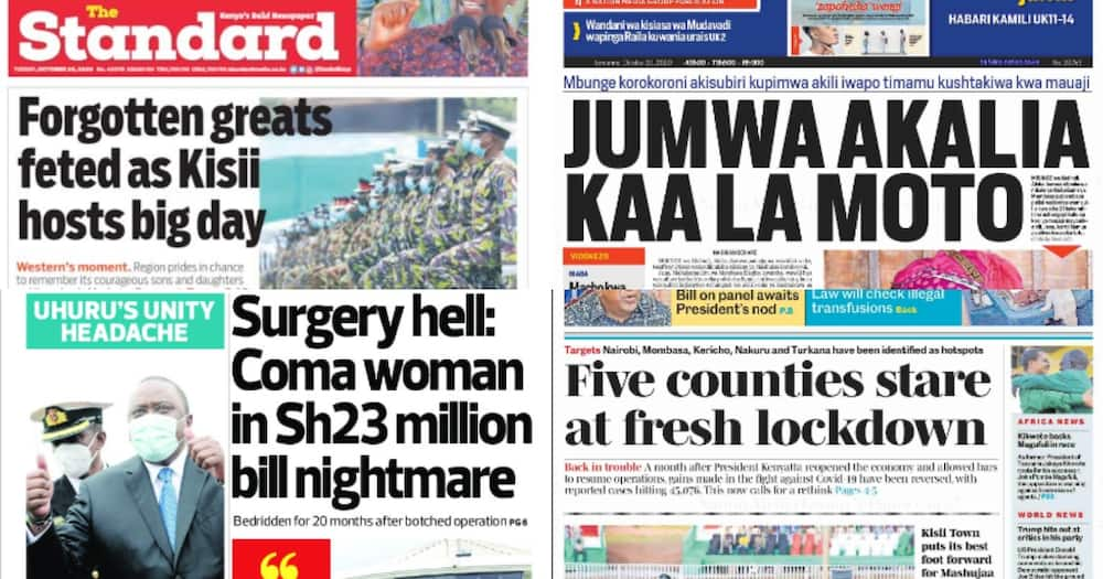 Kenyan newspaper review for October 2020: 5 counties stare at lockdown as full reopening of schools hits rock