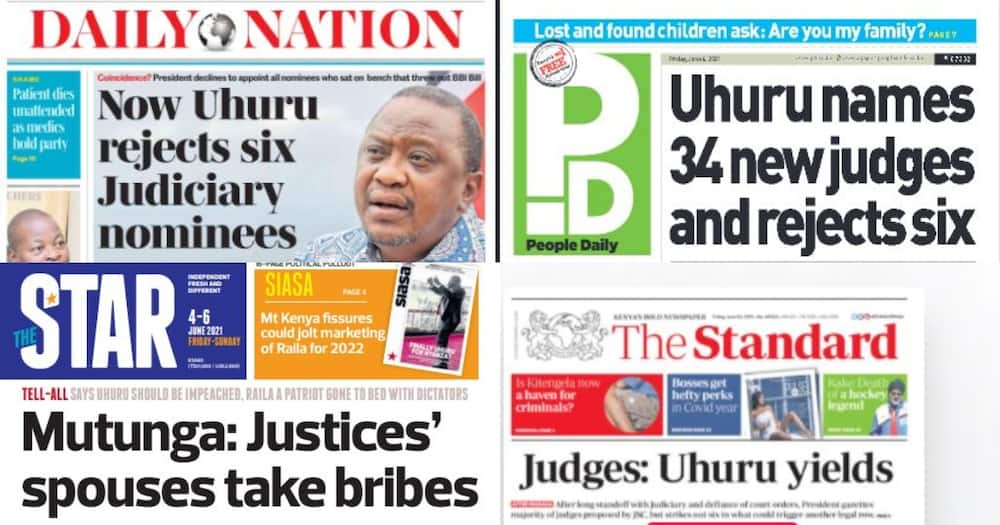 Kenyan Newspaper Review for June 4: Uhuru Appoints 34 Judges, Rejects Those Who Ruled Against BBI