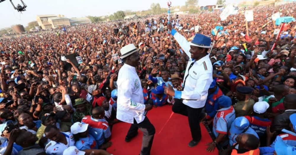 A political rally attended by Raila Odinga and Kalonzo Musyoka.