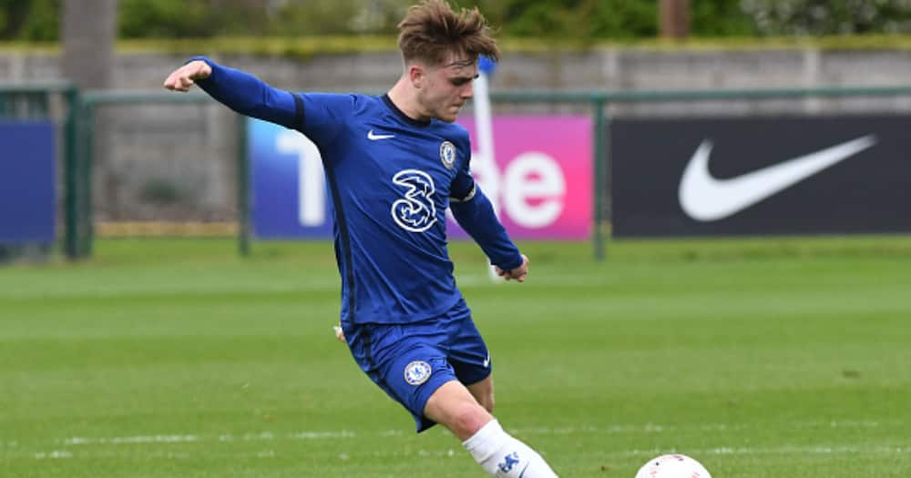 Lewis Bate of Chelsea during the U18 Premier League match between Chelsea and Fulham at Chelsea Training Ground on May 15, 2021 in Cobham. (Photo by Clive Howes - Chelsea FC/Chelsea FC via Getty Images)
